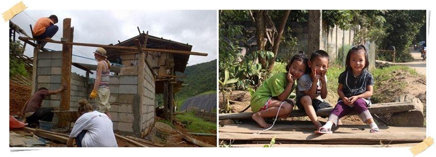 volontär bygg samhällen hilltribe thailand