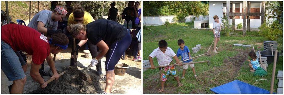 volontärer bygger och renoverar i Thailand