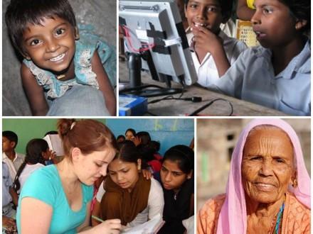 Volontärer hjälper till på samhällsprojekt i Indien Goa