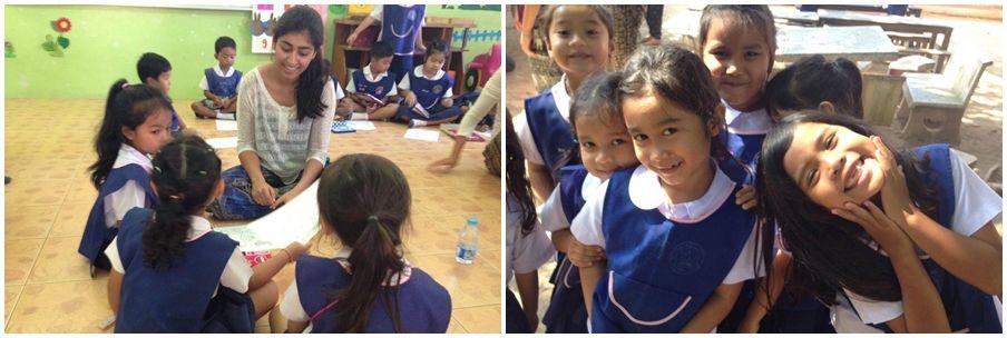 undervisning av volontärer för barn i Thailand