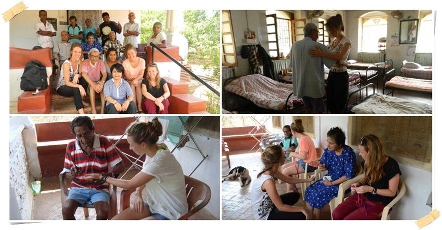 Volontärer på äldreboende på Goa Indien