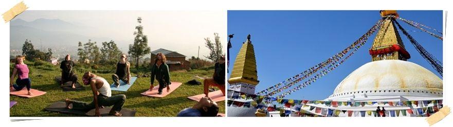 Yoga leksjon og Bouddhanath, Nepal helligste tempel