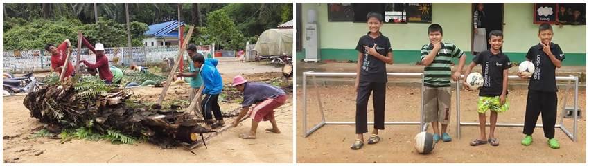I Mina Skor, volontärprojekt i södra Thailand, borttaget träd och nya fotbollsmål