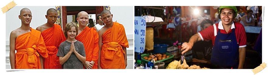 volontär till thailand buddhistmunkar och matstånd i bangkok