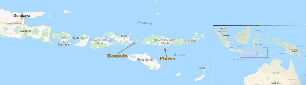 Komodo och Flores. Liten karta med placeringen av öarna i ett större perspektiv.