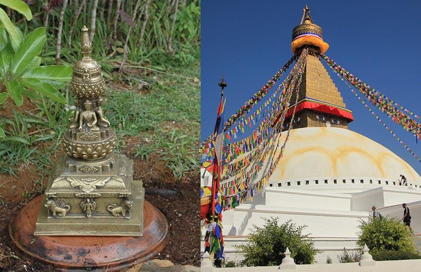 Två olika typer av stupor i Nepal